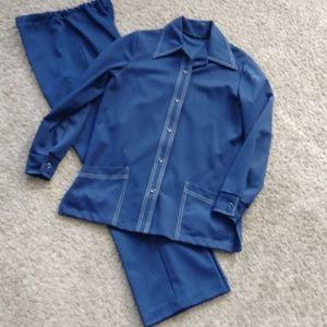 Jackets & Blazers - Vintage Navy Blue with White Stitching 2pc Suit Ja